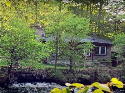 CHALET DU MOULIN, SPA, FIREPLACE, ROMANTIC, ORIGINAL ROUND WOOD, RIVER IN WATERFALLS, SUBLIME VIEW