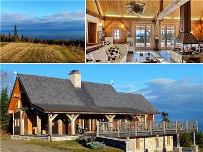 For rent by the month. Luxury chalet in the mountains, land 41 hectares, view on St-Lawrence River