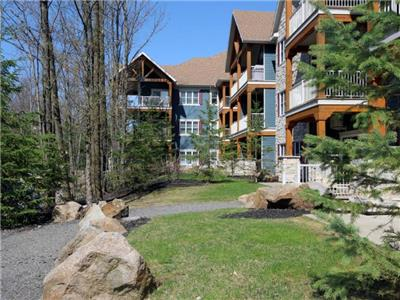 New Luxurious Condo Cercle des Cantons - Ski in-Ski out / Trail / Pool & Spa